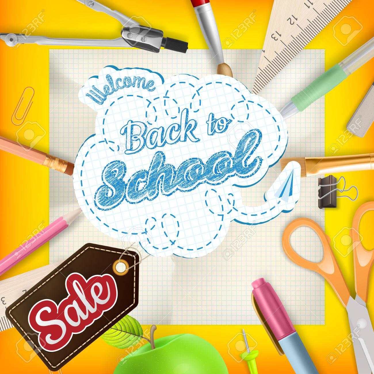 Back to School design sale background. Illustration for greeting card, promotion, poster, flier, blog, article, social media, marketing. vector file included - 44326968