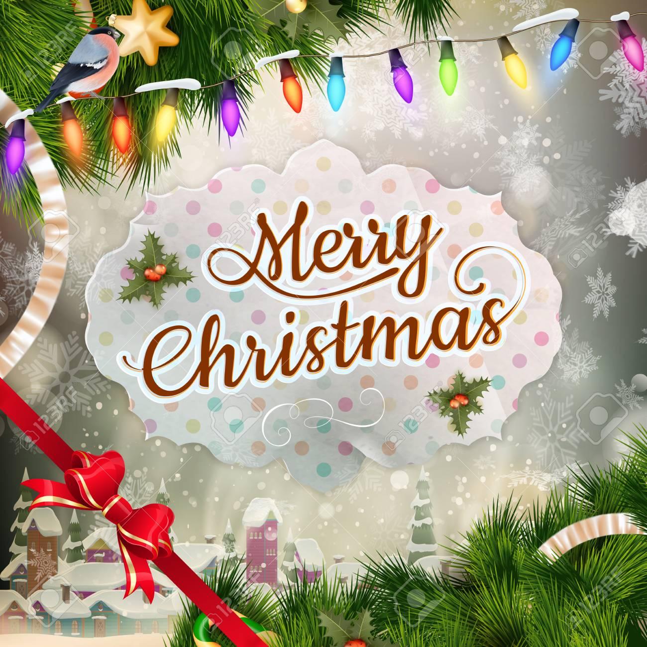 Weihnachts Grusskarte Licht Und Schneeflocken Hintergrund Frohe