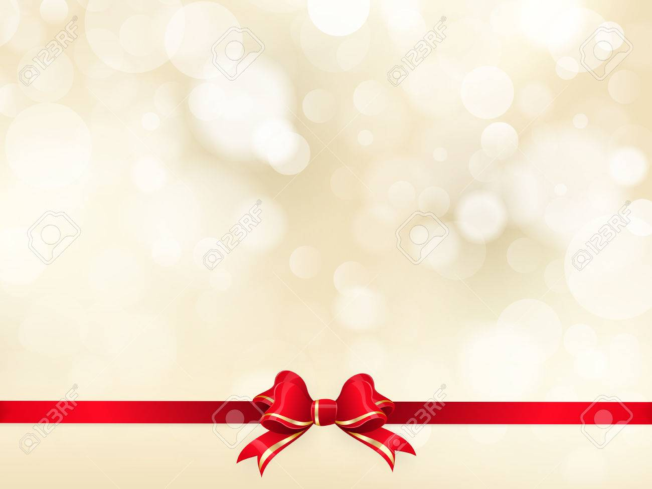Red ribbon bow with bokeh Christmas decoration. EPS 10 vector file included - 46182564
