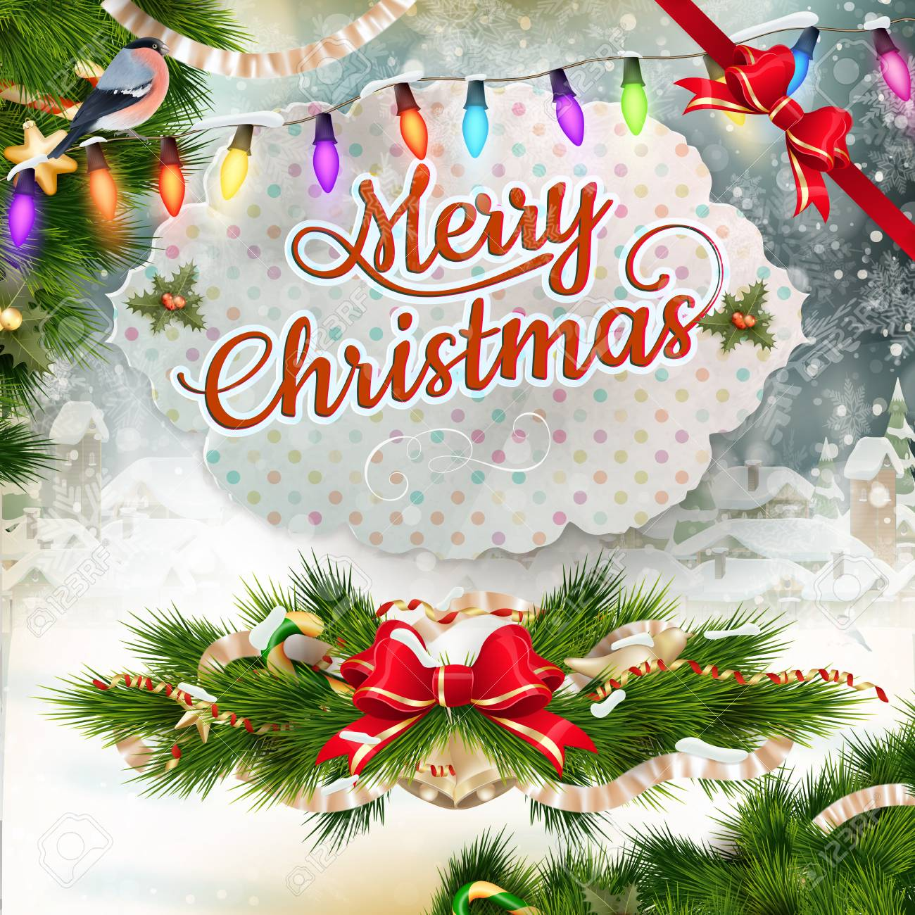 Christmas Greeting Card Light And Snowflakes Background Merry