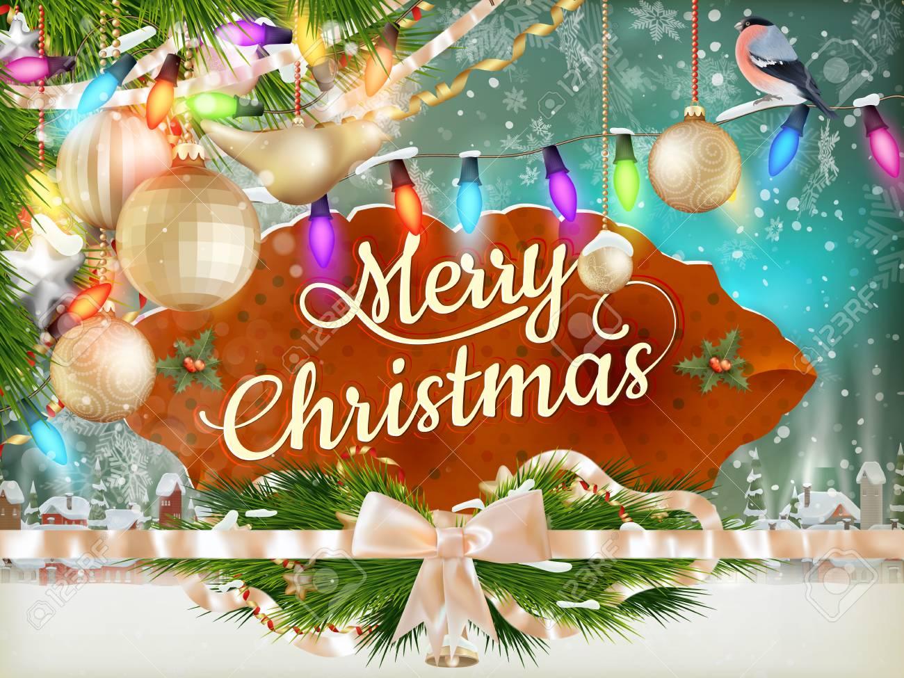 Weihnachts-Grußkarte Licht Und Schneeflocken Hintergrund. Frohe ...