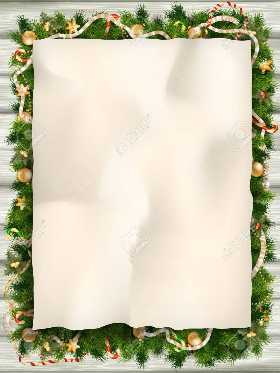 Christmas fir tree with paper and christmas decorations. - 47562884