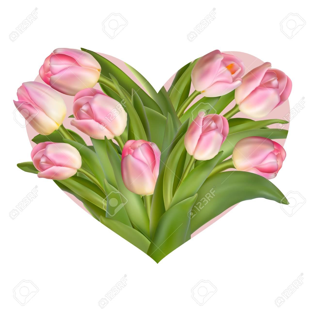 Tulipanes Flores En Forma De Corazón Diseño De Primavera O Verano