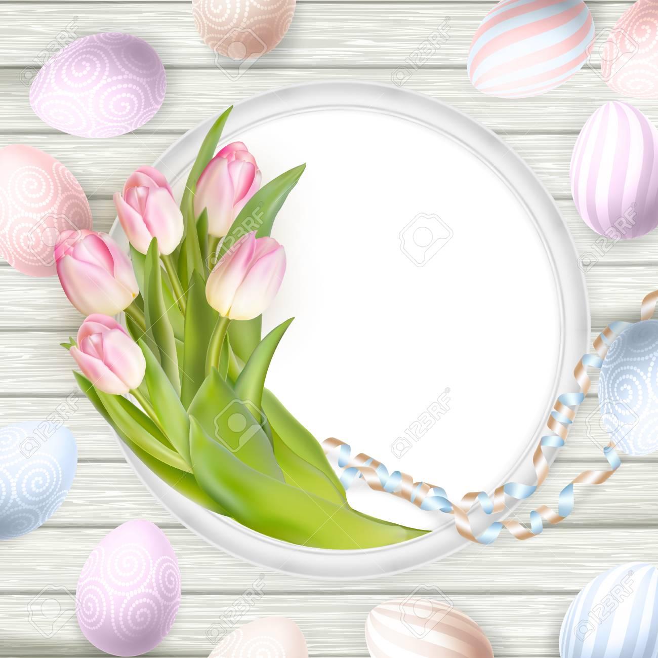 Ostern Hintergrund. Bunte Eier über Weißem Holzuntergrund Mit Rahmen ...