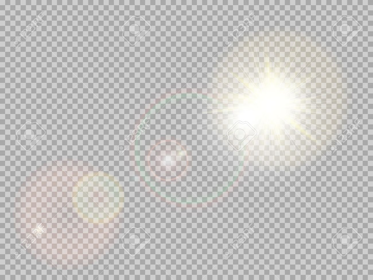Transparent sunlight special lens flare light effect. Sun flash with rays and spotlight. - 55386296