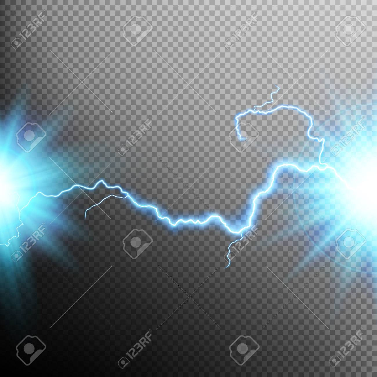 Electrical discharge. Lightning. Light effect. EPS 10 vector file included - 56473898