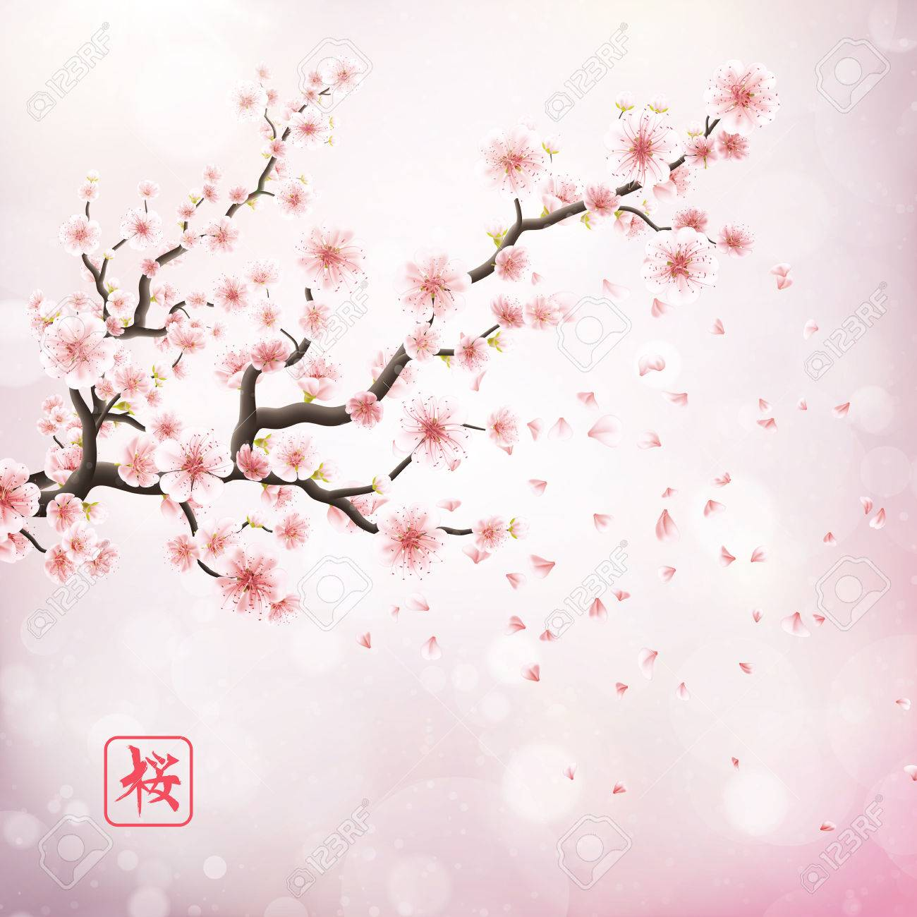 Nature Background With Blossom Branch Of Pink Sakura Flowers