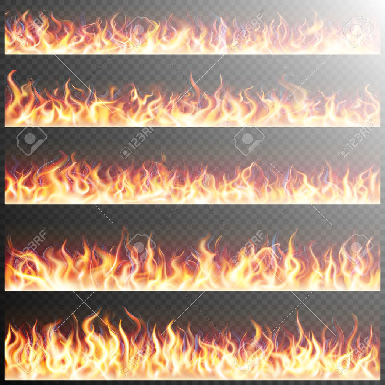 Set of realistic fire flames on transparent background. Special effects. Translucent elements. Transparency grid. EPS 10 vector file included - 57406032