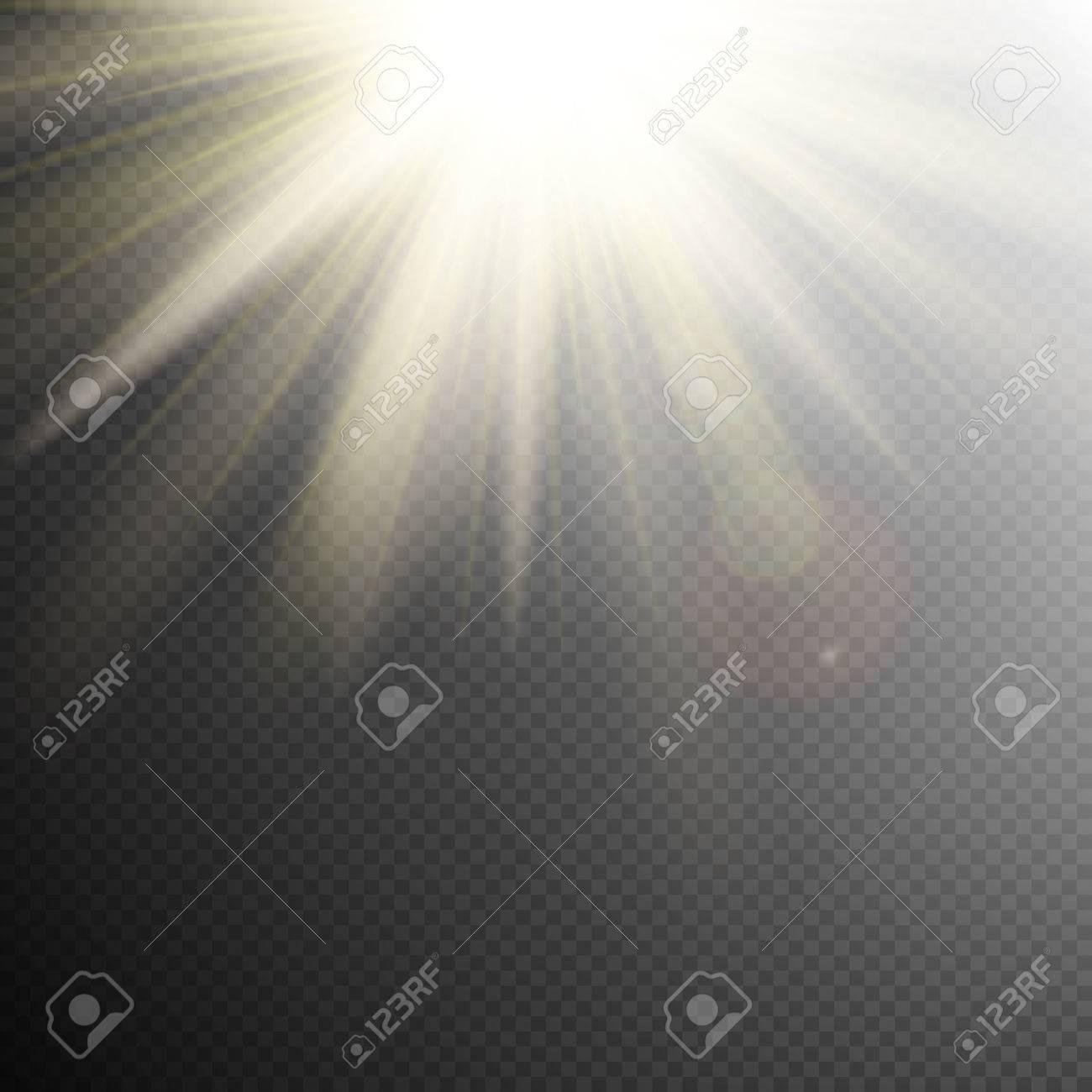 Yellow Orange Warm Light Effect Sun Rays Beams On Transparent