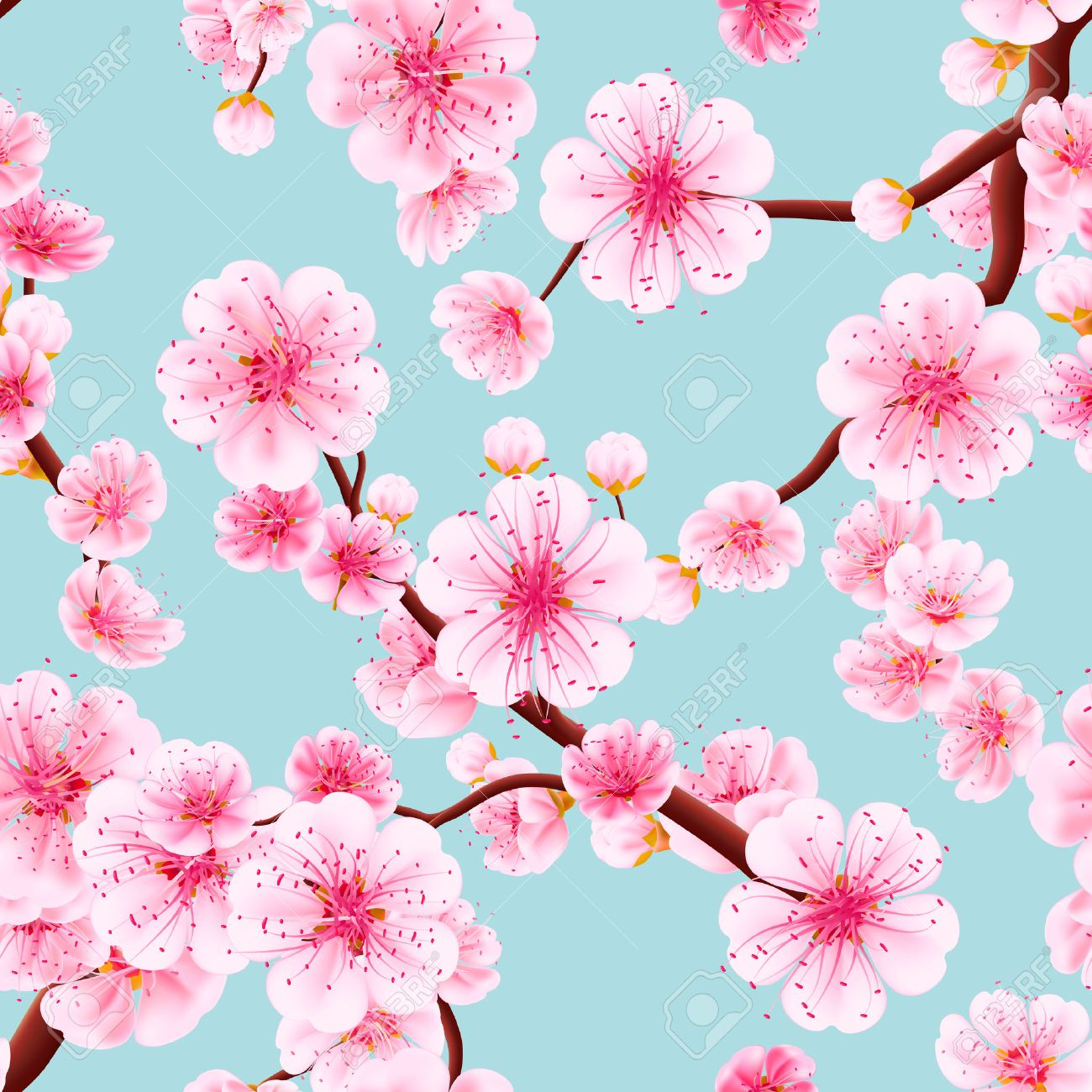 Seamless background pattern of pink Sakura blossom or Japanese flowering cherry symbolic of Spring in a random arrangement square format suitable for textile. EPS 10 vector file included - 57412049