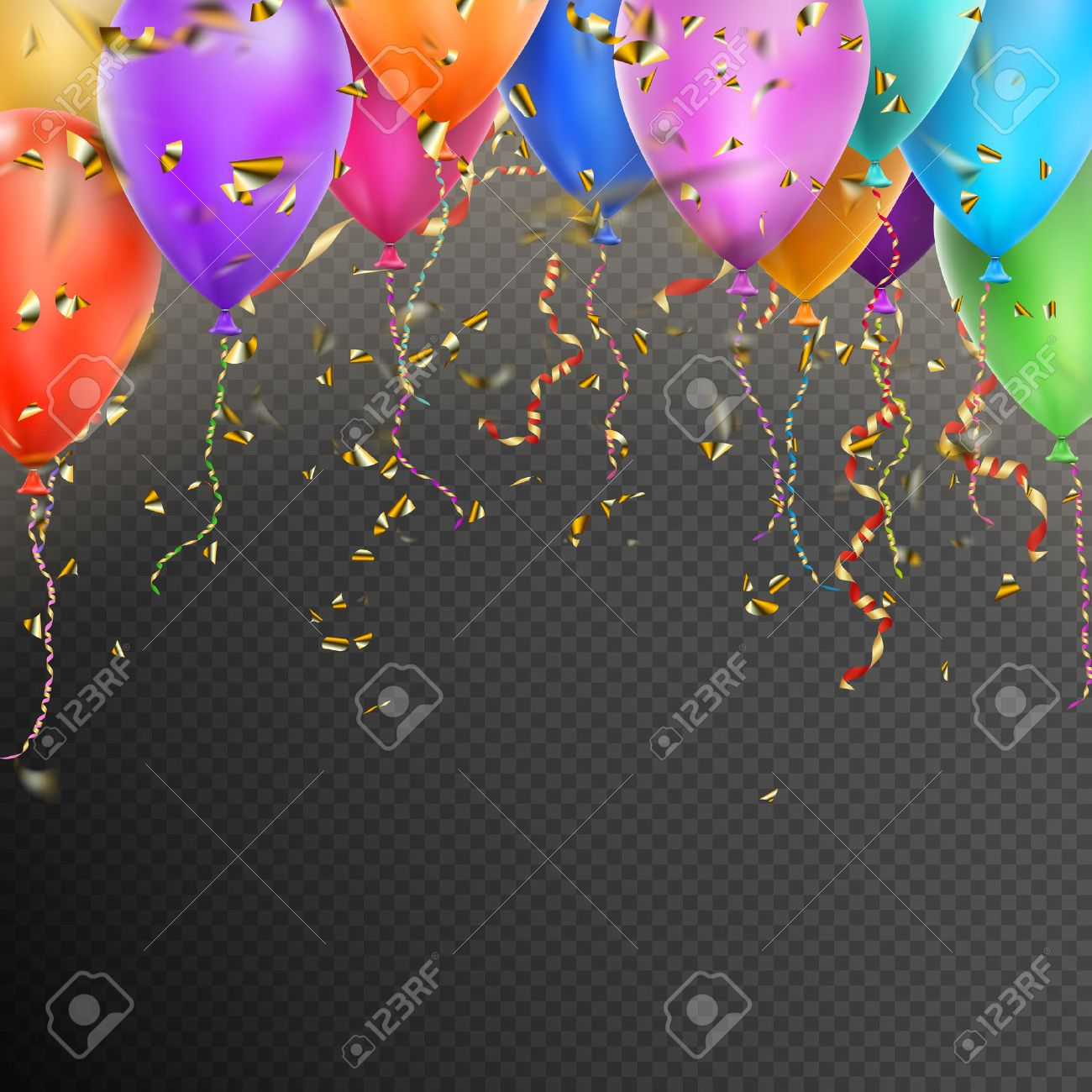 Celebration background template with balloons, confetti and red gold ribbons on transparent background. vector file included - 58155782