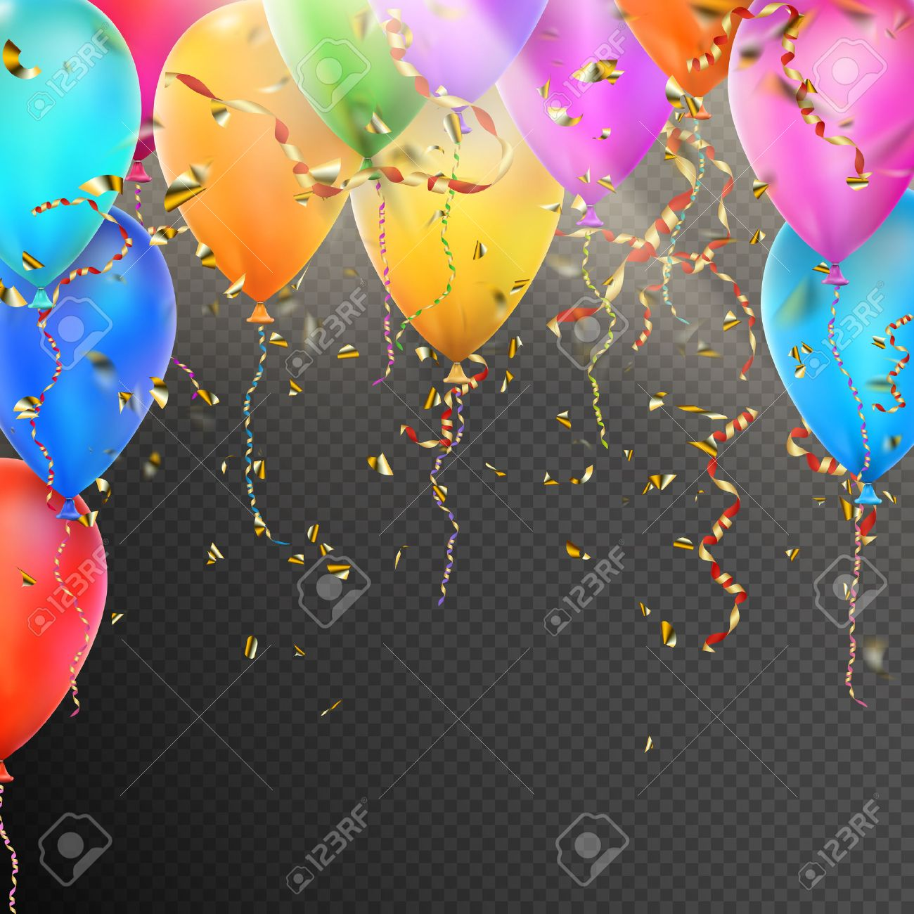 Celebration background template with balloons, confetti and red gold ribbons on transparent background. vector file included - 58155784