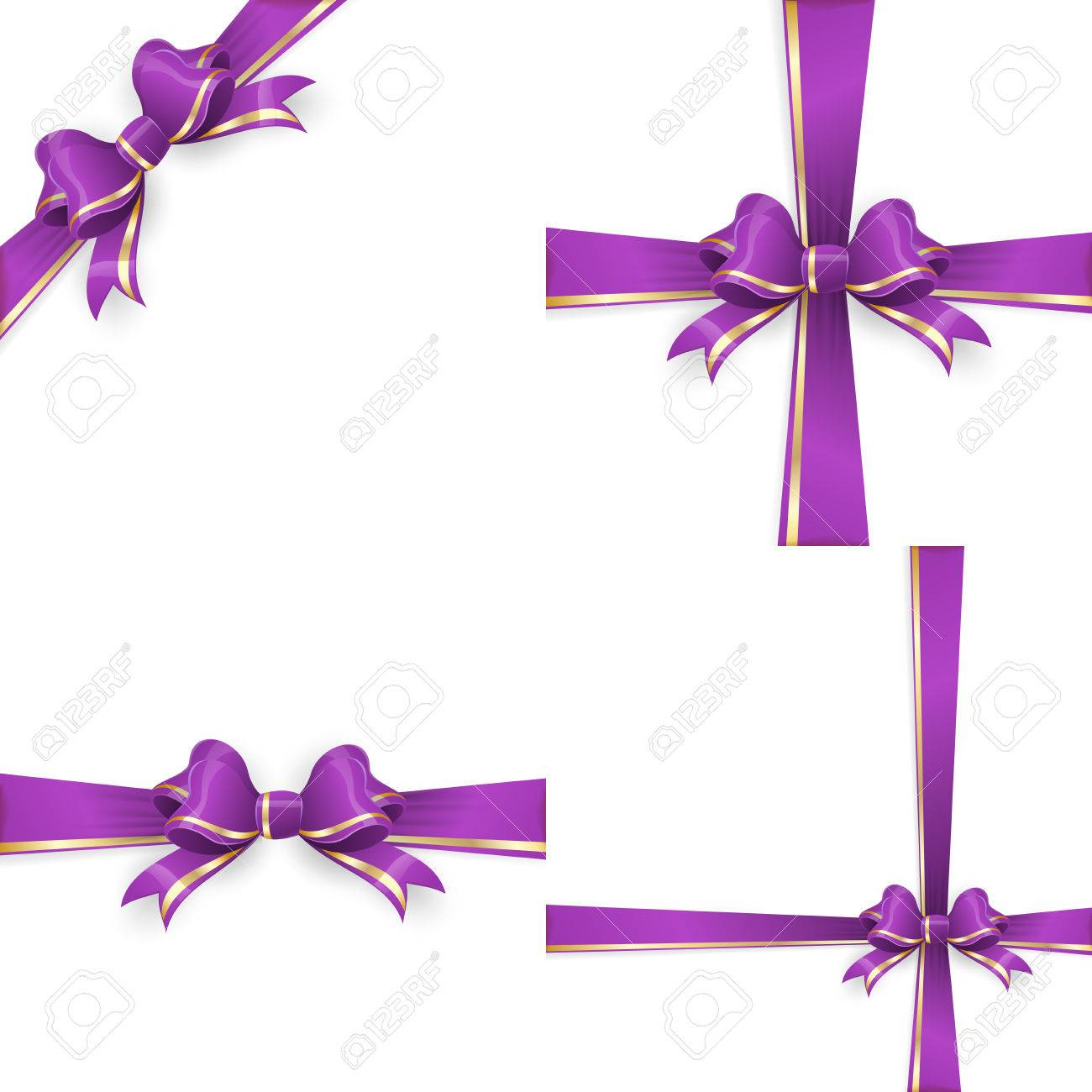 Set with different gift wrapping compositions of purple gold bow and ribbon isolated on white background. purple gold bow templates. purple gold bow backgrounds. vector file included - 58656807