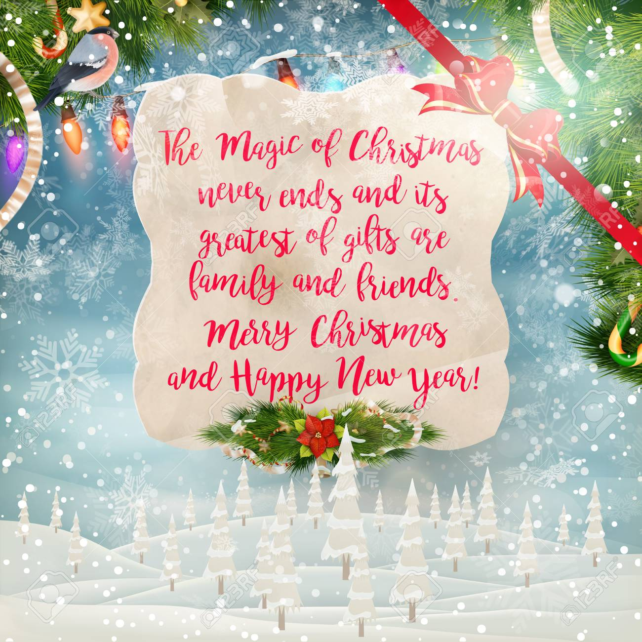 Christmas Greeting Card Merry Christmas Lettering Royalty Free