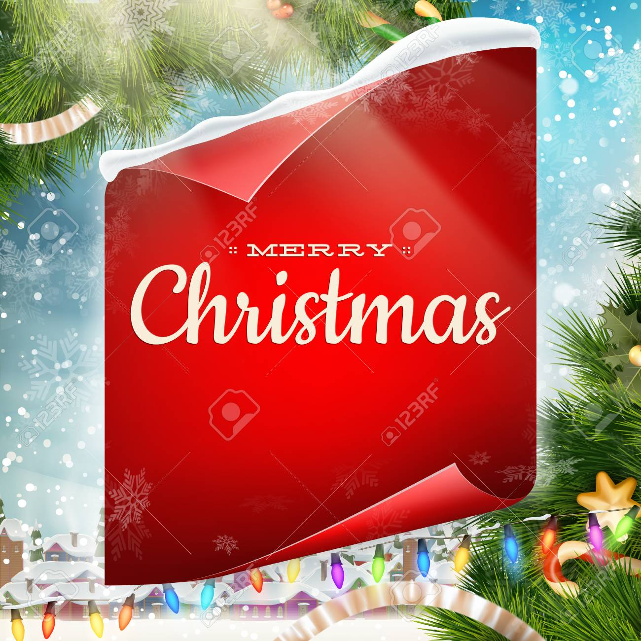 Merry christmas greeting card template with red scroll paper merry christmas greeting card template with red scroll paper eps 10 vector file included stock m4hsunfo