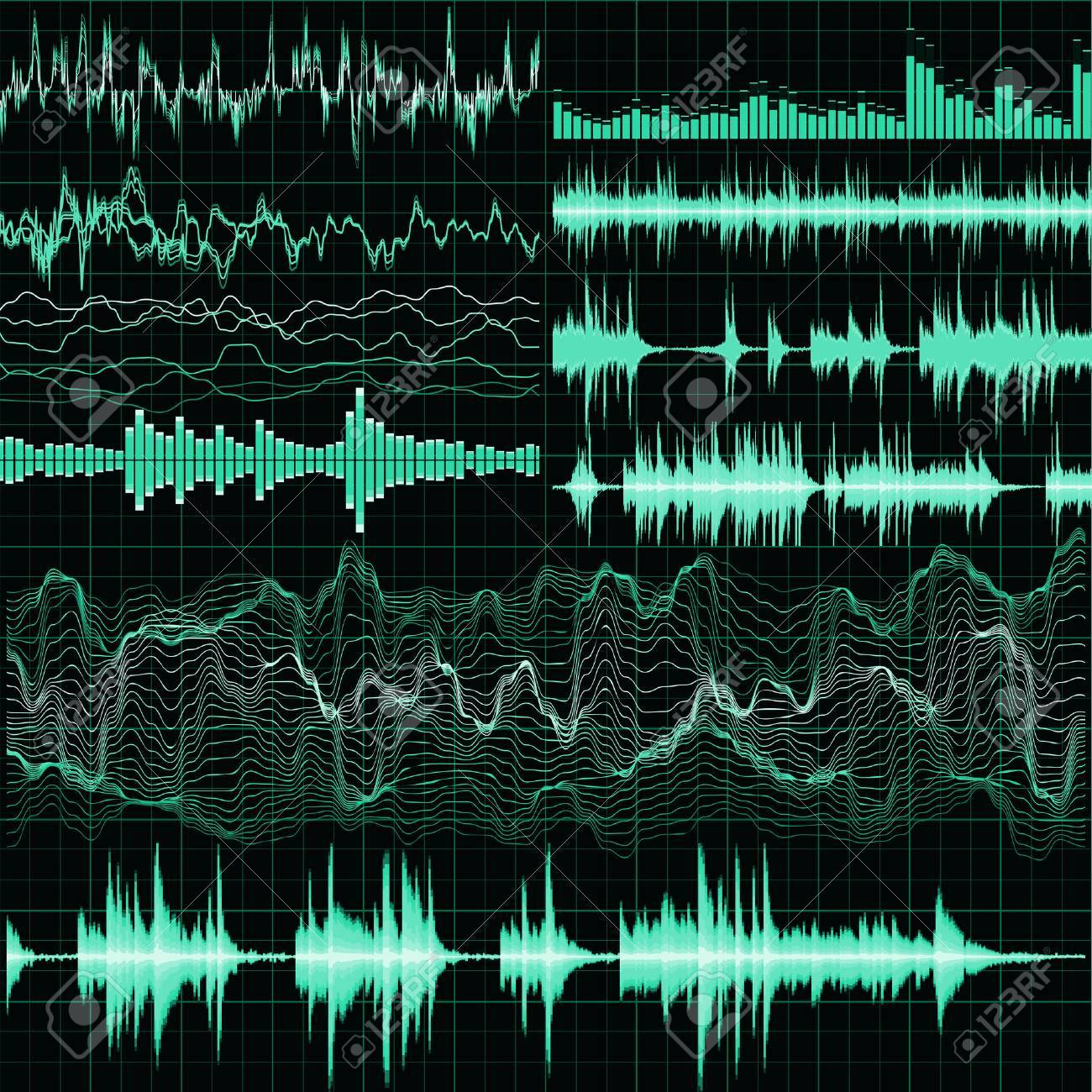 Sound waves set. Music background. EPS 10 vector file included - 67480777