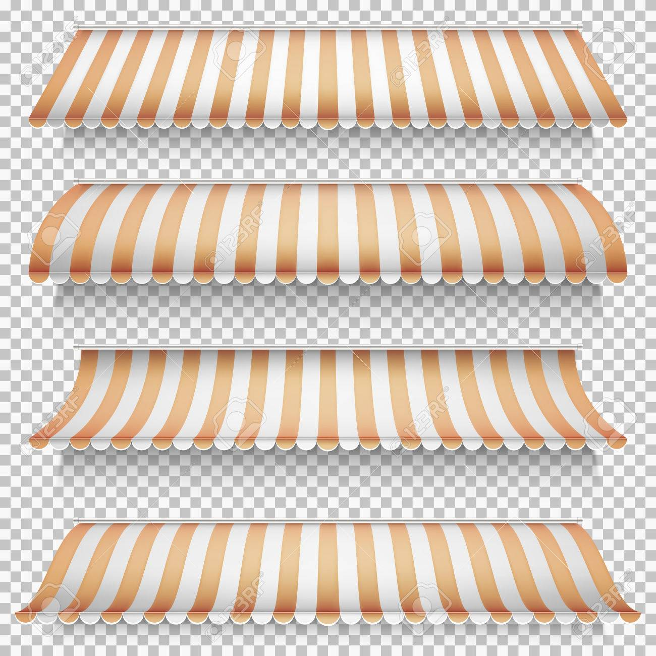 Colored awnings set on transparent background. EPS 10 vector file included - 67487091