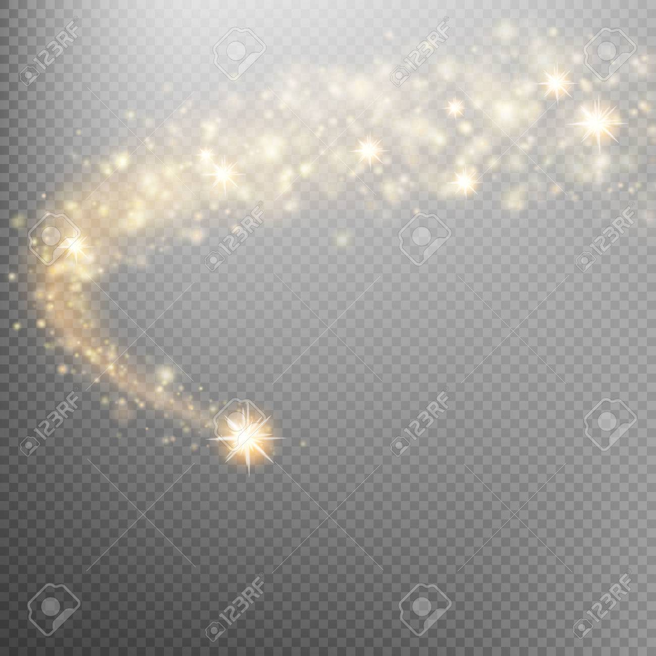 Golden sparkling falling star. Cosmic glittering wave. Gold glittering stars dust trail sparkling particles on transparent background. Space comet tail. EPS 10 vector file included - 67603926