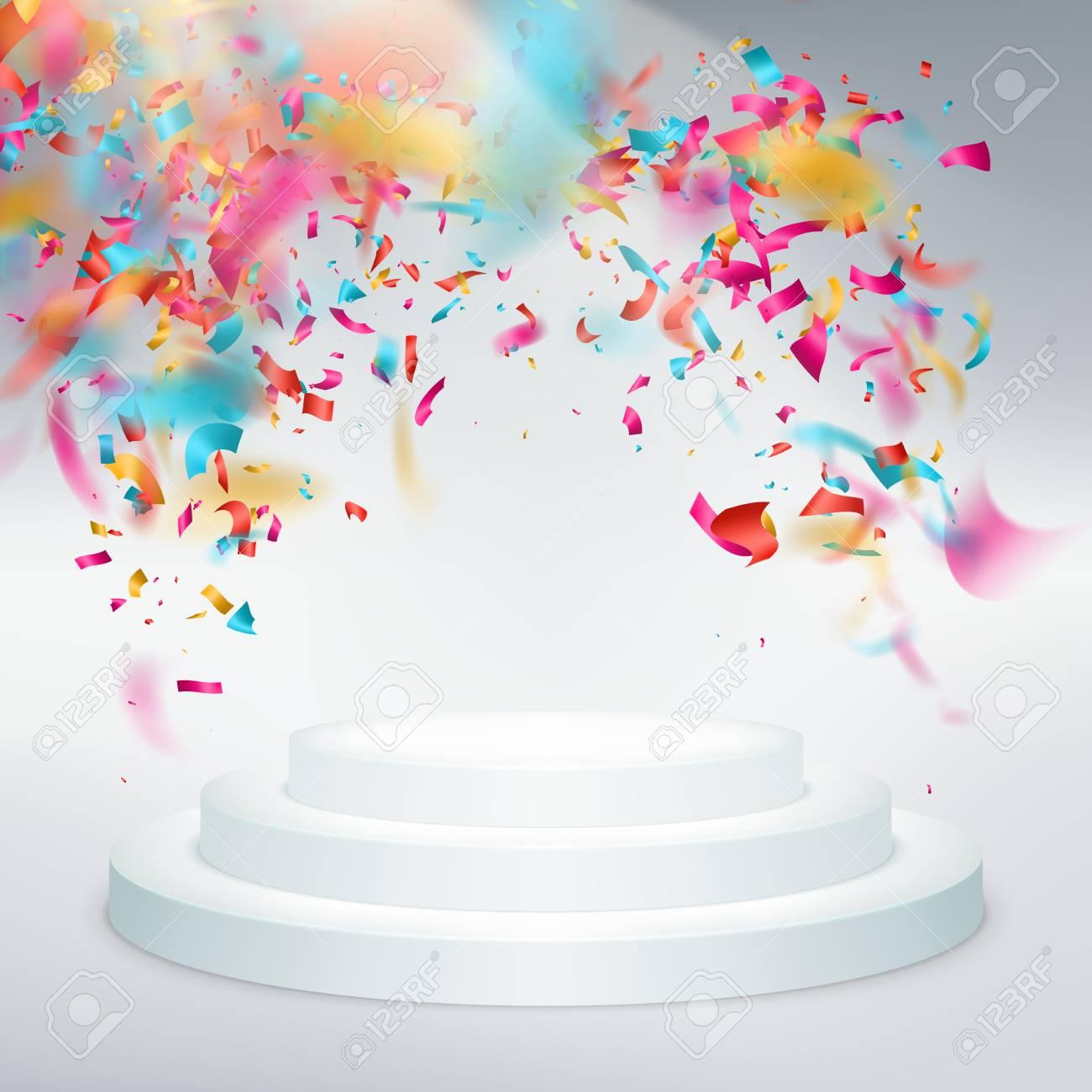 光線と勝者の表彰台紙吹雪パーティやお祭りイラストのイラスト素材