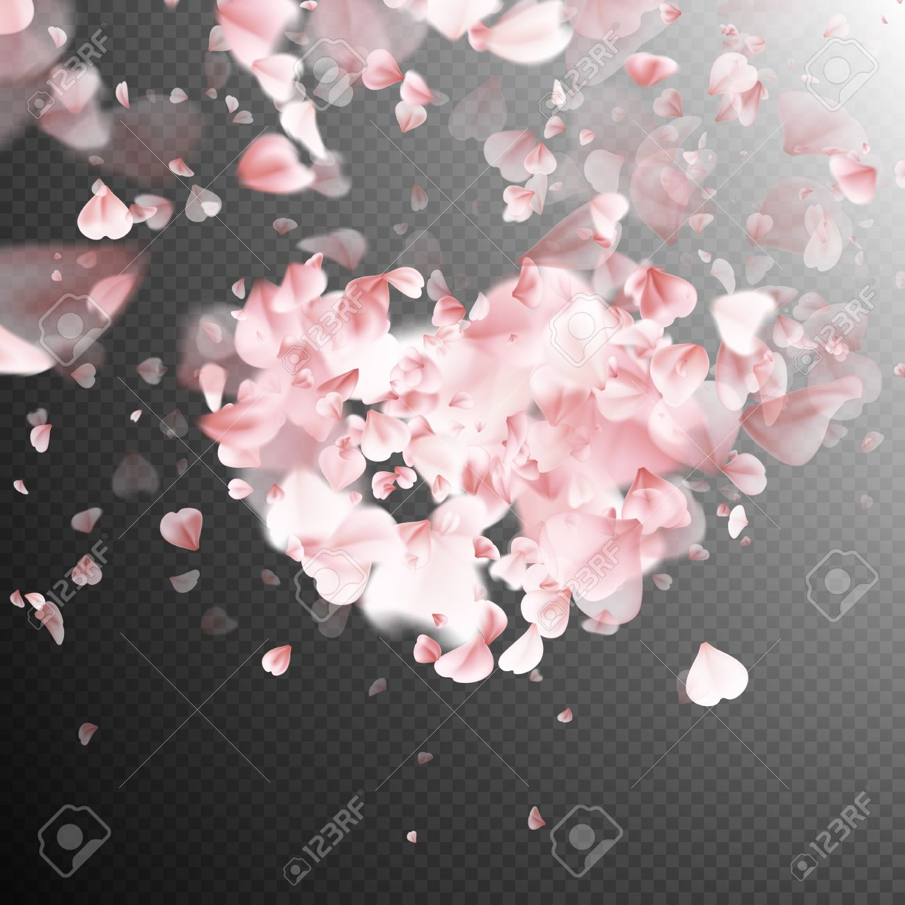 Pink petals falling on transparent background for Saint Valentine Day greeting card design. Flower petal in shape of heart. EPS 10 vector file included - 68245442