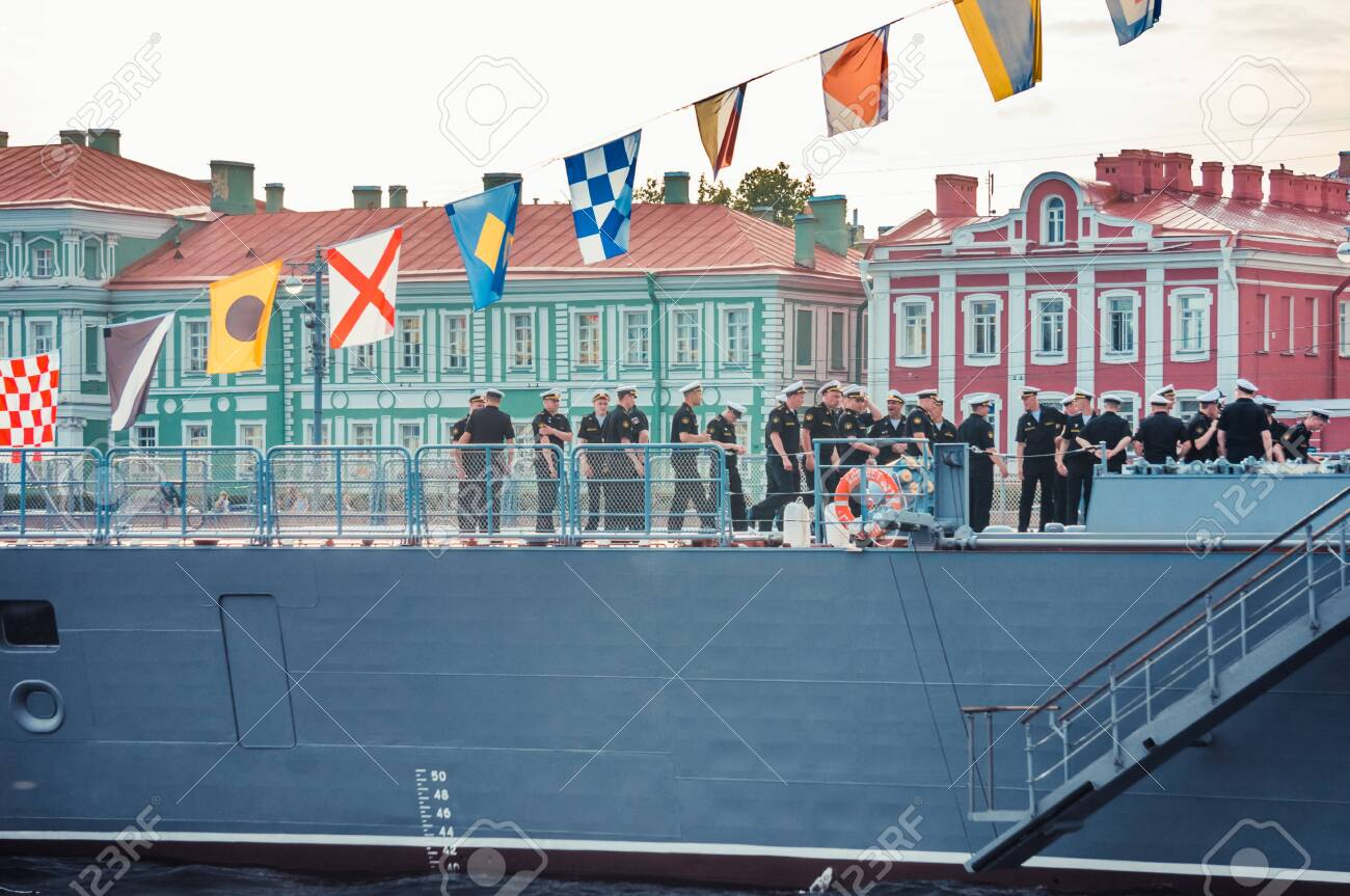 ST.PETERSBURG, RUSSIA - JULY 23, 2019 - Russian warship with decorations at celebration of the Navy Day on Neva river - 142089387