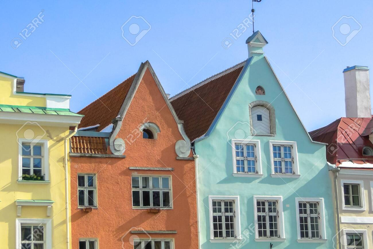 Sunny day with colorful houses in the center of Tallinn - 150144176