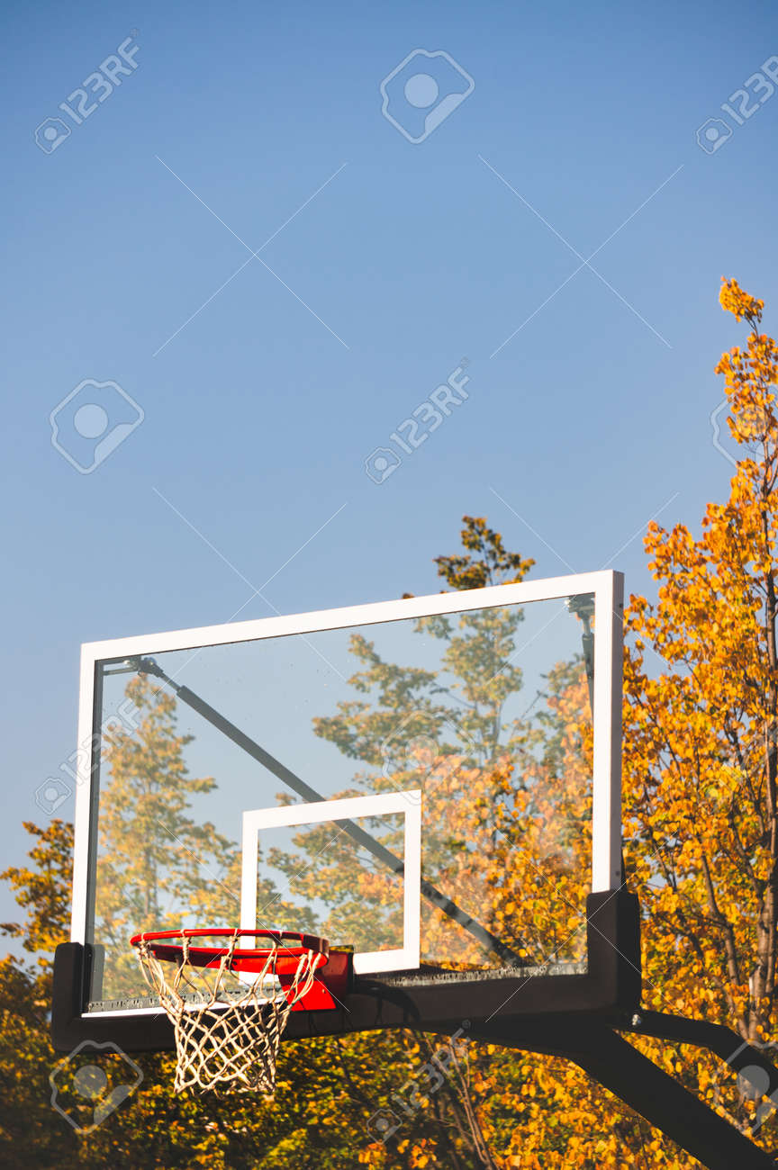 Basketball hoop with net and transparent board in autumn park with blue sky - 163415102
