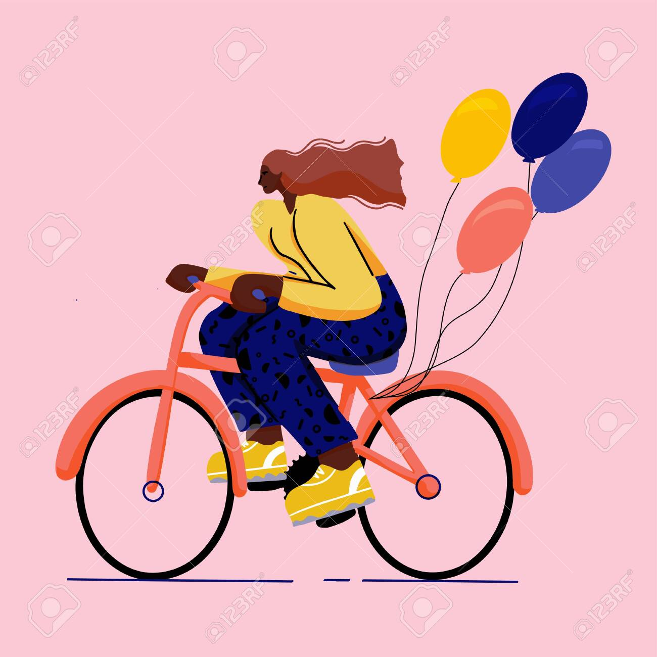 girl on bicycle trendy colourful flat style with big shoes - 142087399