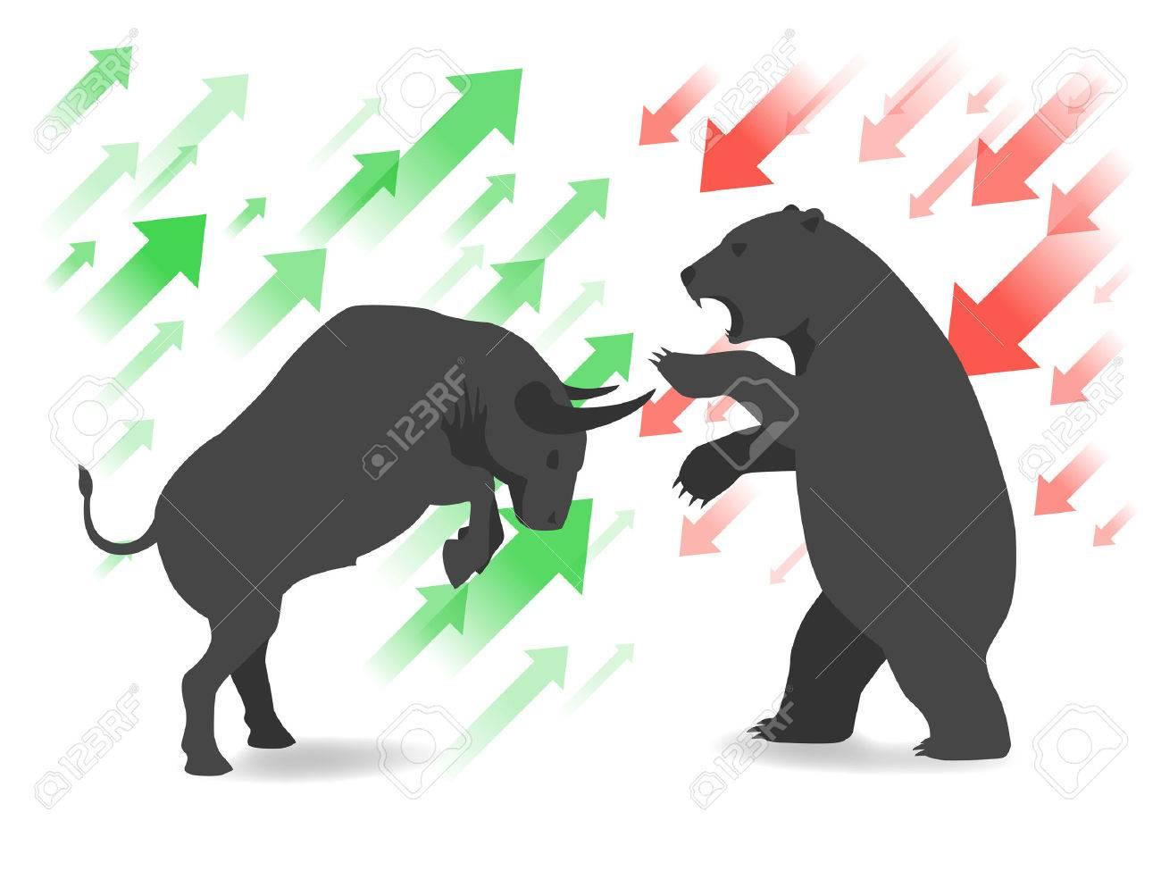Stock market concept bull and bear - 44441919