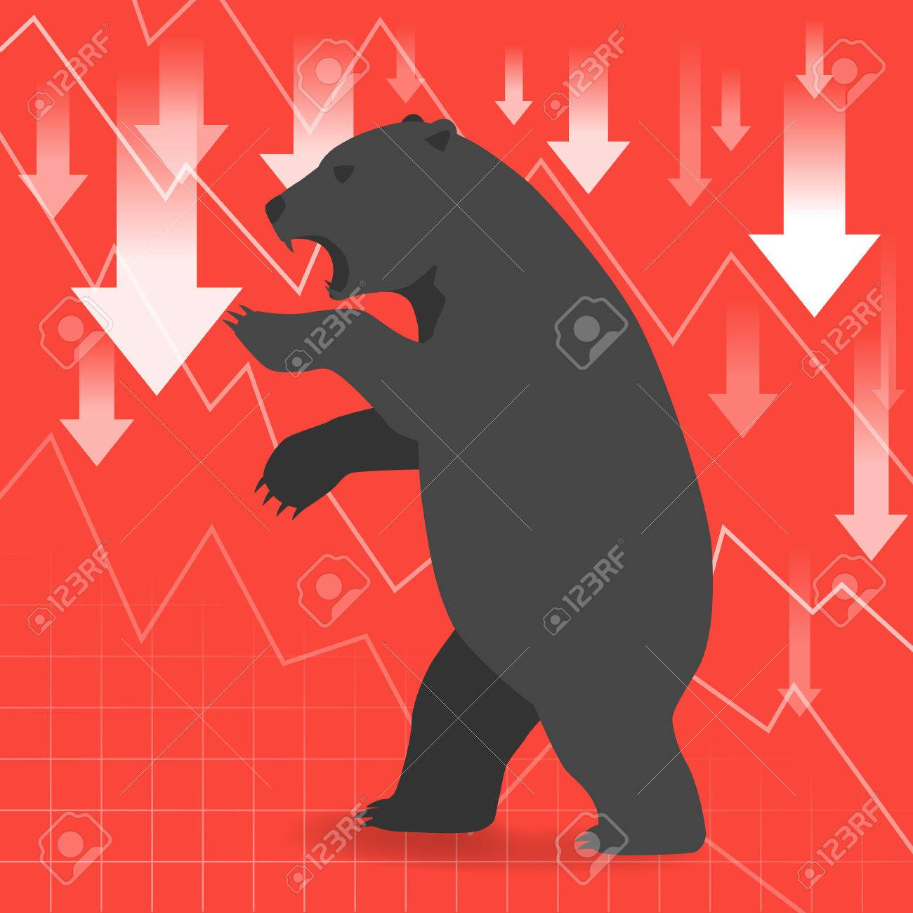 Bear market presents downtrend stock market concept with graph in background - 44441925