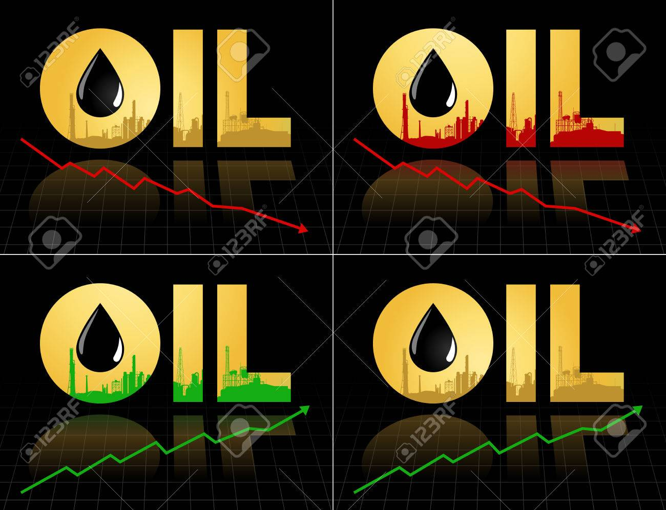 Set Of Crude Oil Price Fall Down And Increase Abstract Illustration
