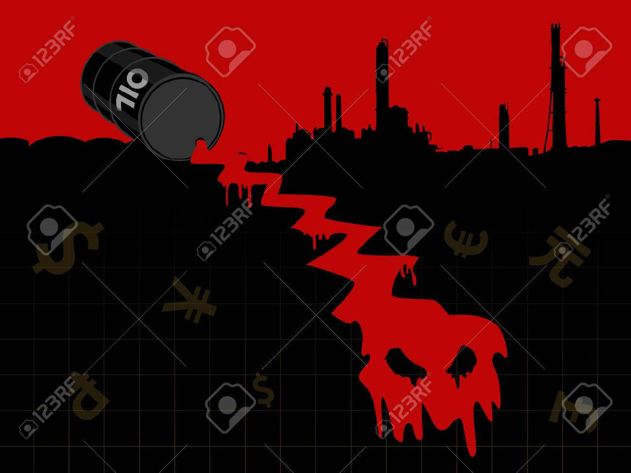 Crude Oil Price Fall Down Abstract Illustration With Red Leaked
