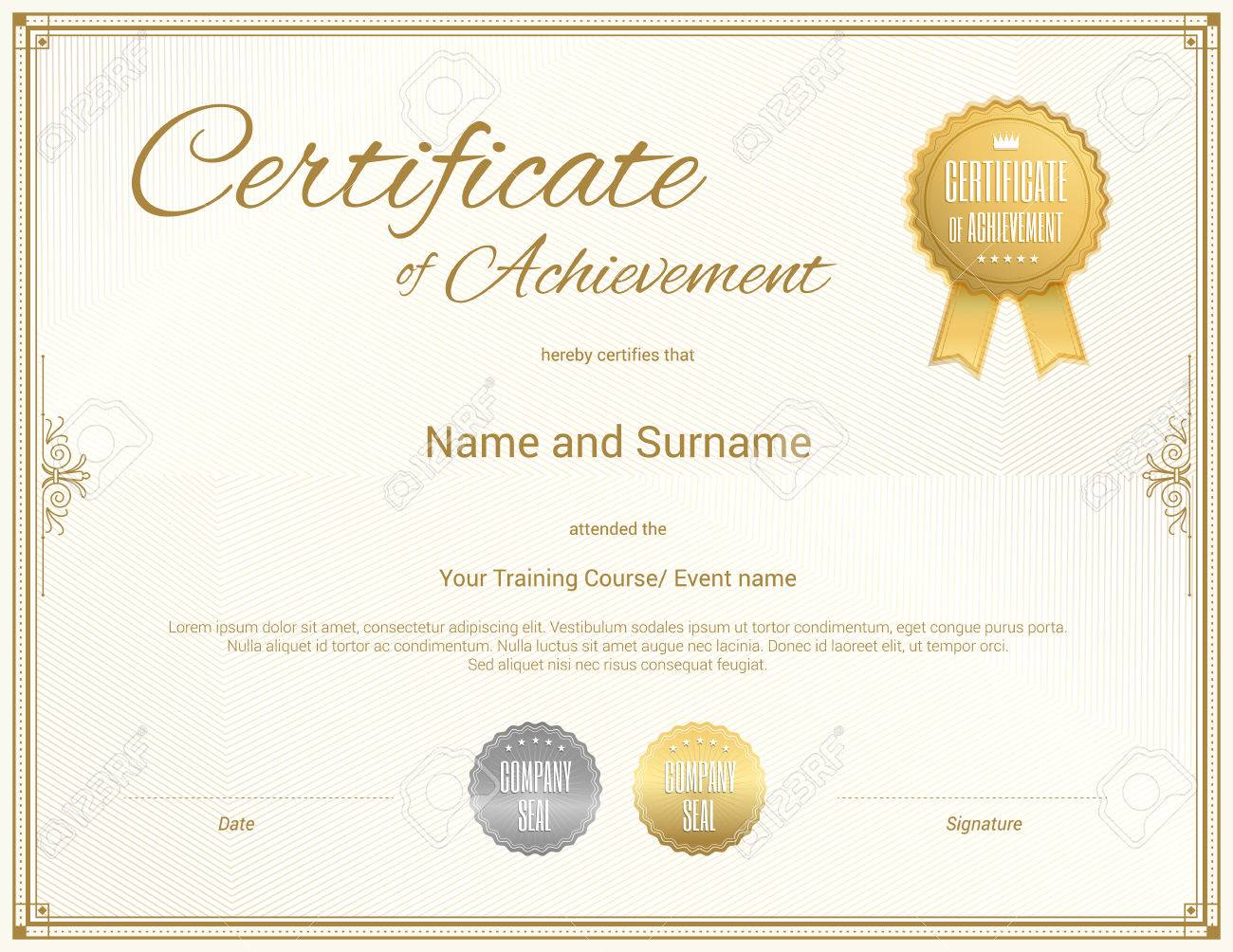 Certificate Template In Achievement Graduation Completion Royalty ...