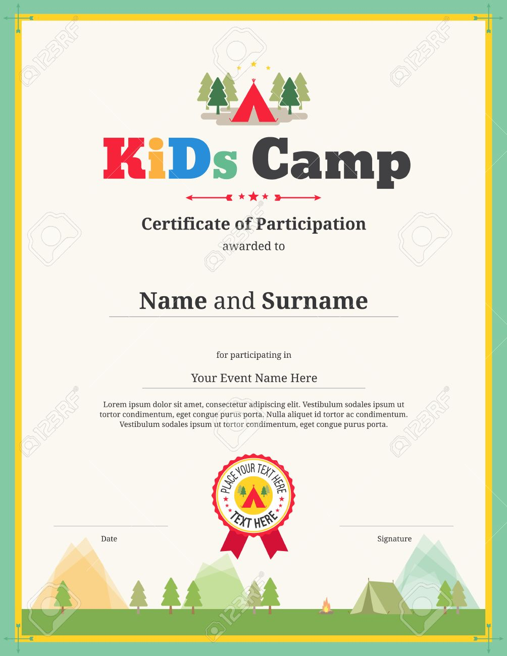 Kids Certificate Template For Camping Participation Royalty Free ...