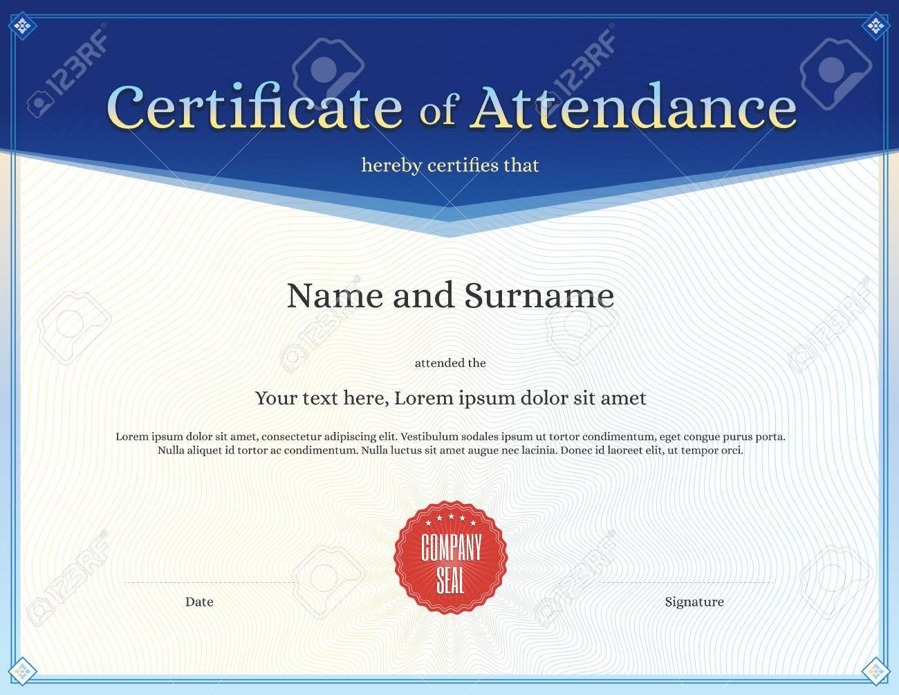 Certificado De Plantilla De Asistencia Para La Terminación De La ...