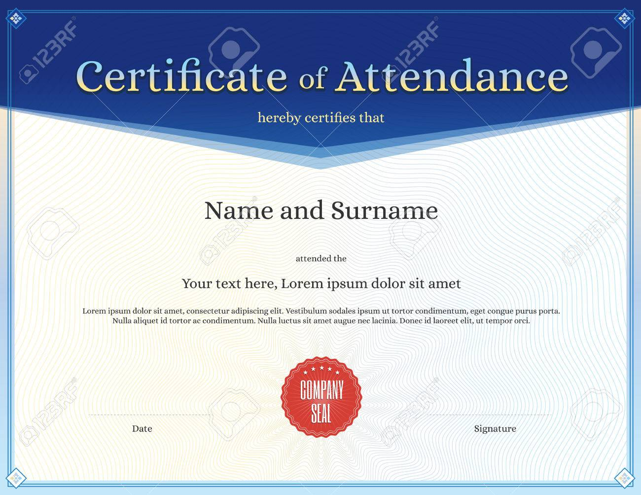 Certificate Of Attendance Template For Achievement Graduation ...