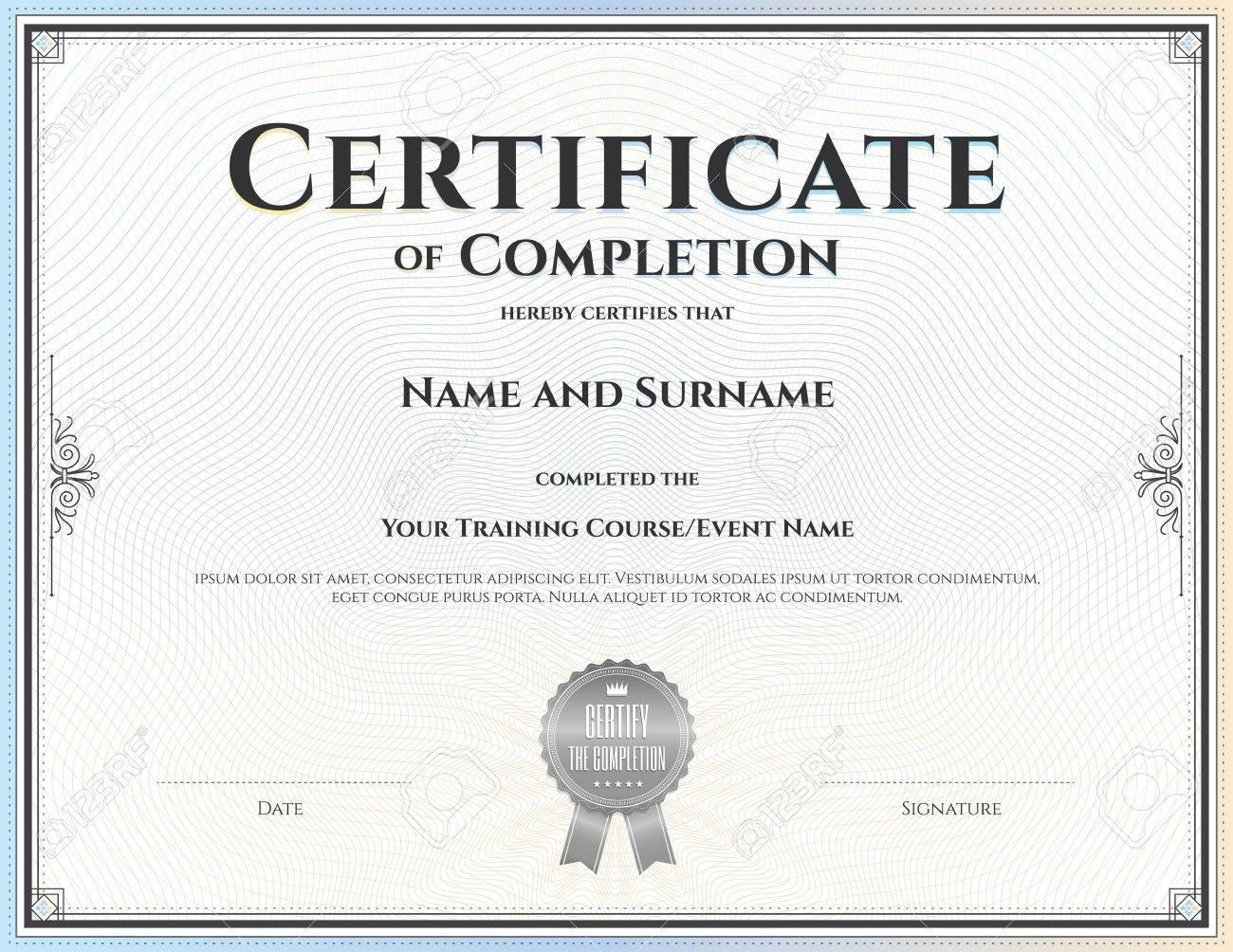 Fantastisch Vorlage Für Certificate Of Completion Bilder - Bilder ...