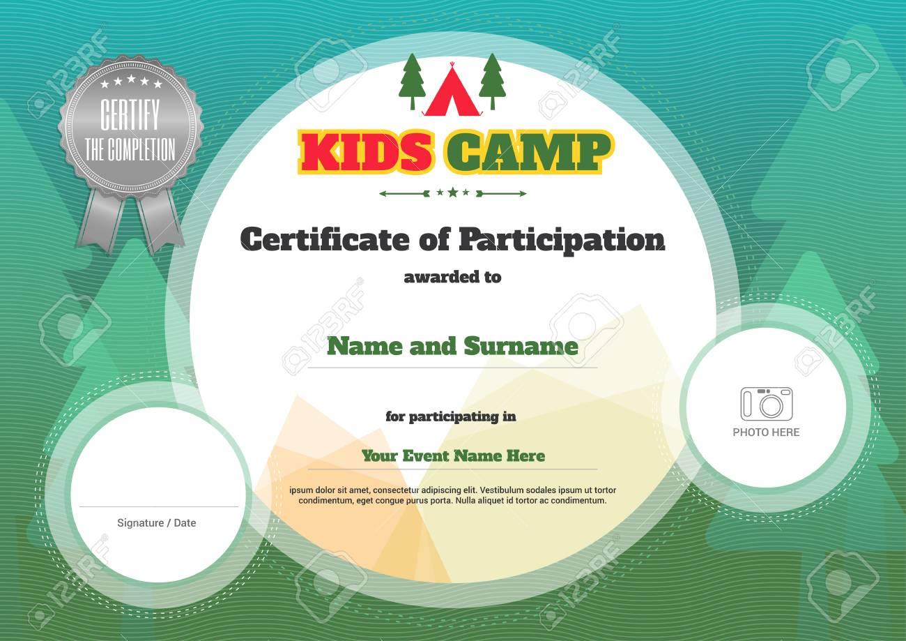 Kinder-Zertifikatvorlage In Vektor Für Camping Teilnahme Lizenzfrei ...