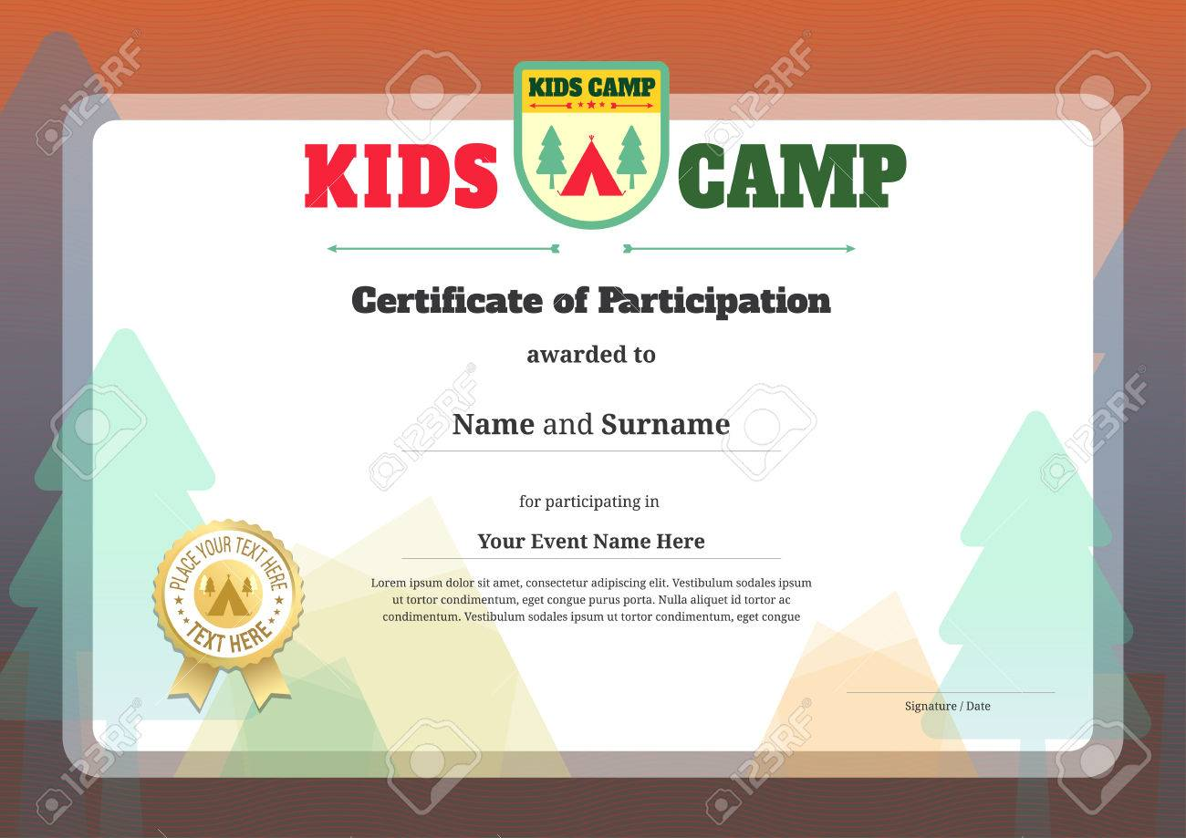 Kids Certificate Template In Vector For Camping Participation Stock Vector    53226973  Participation Certificate Template