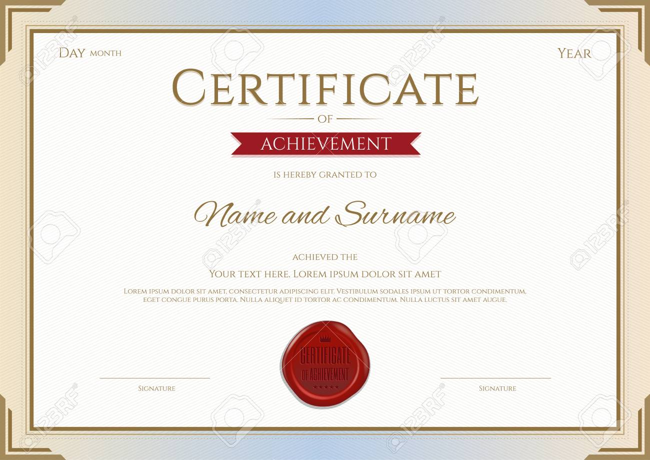 Certificate Of Achievement Template In Gold And Red Theme Royalty