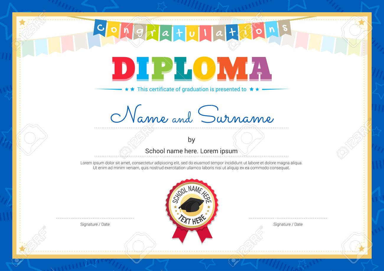 Colorful Diploma Certificate Template For Kids Royalty Free Cliparts