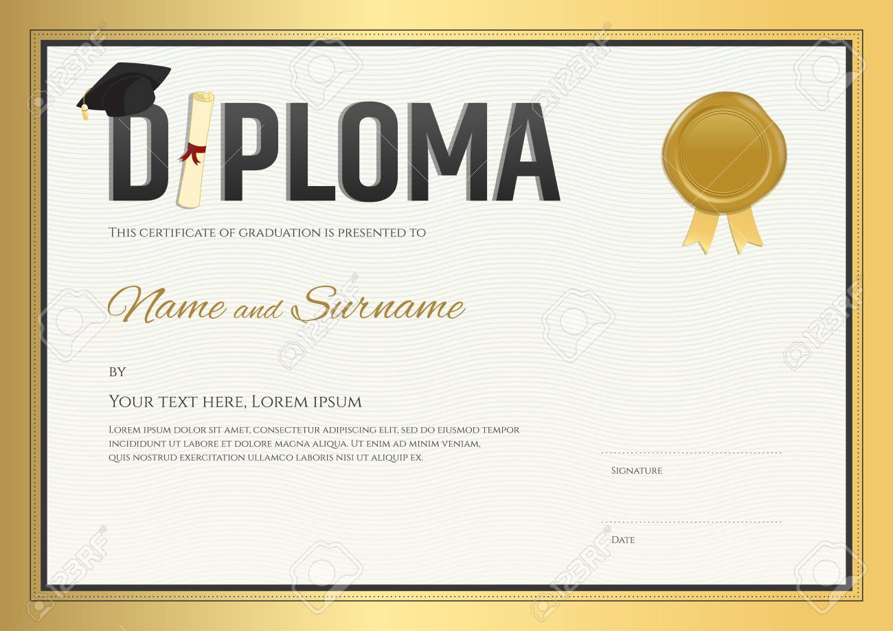 Diploma certificate template in gold theme royalty free cliparts diploma certificate template in gold theme stock vector 56758875 yelopaper Image collections