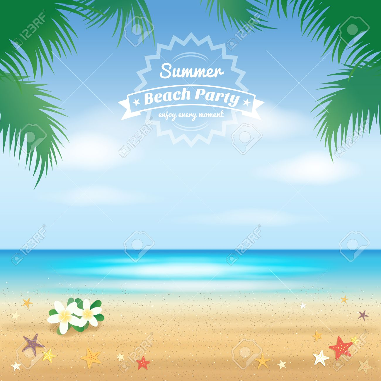 Summer Beach Party, Hello Summer Background And Banner Royalty ...