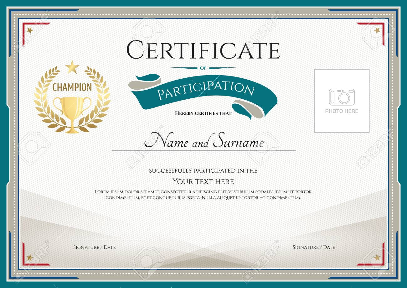 Certificate of participation template with green broder, gold trophy, champion wreath and photo space - 60131221