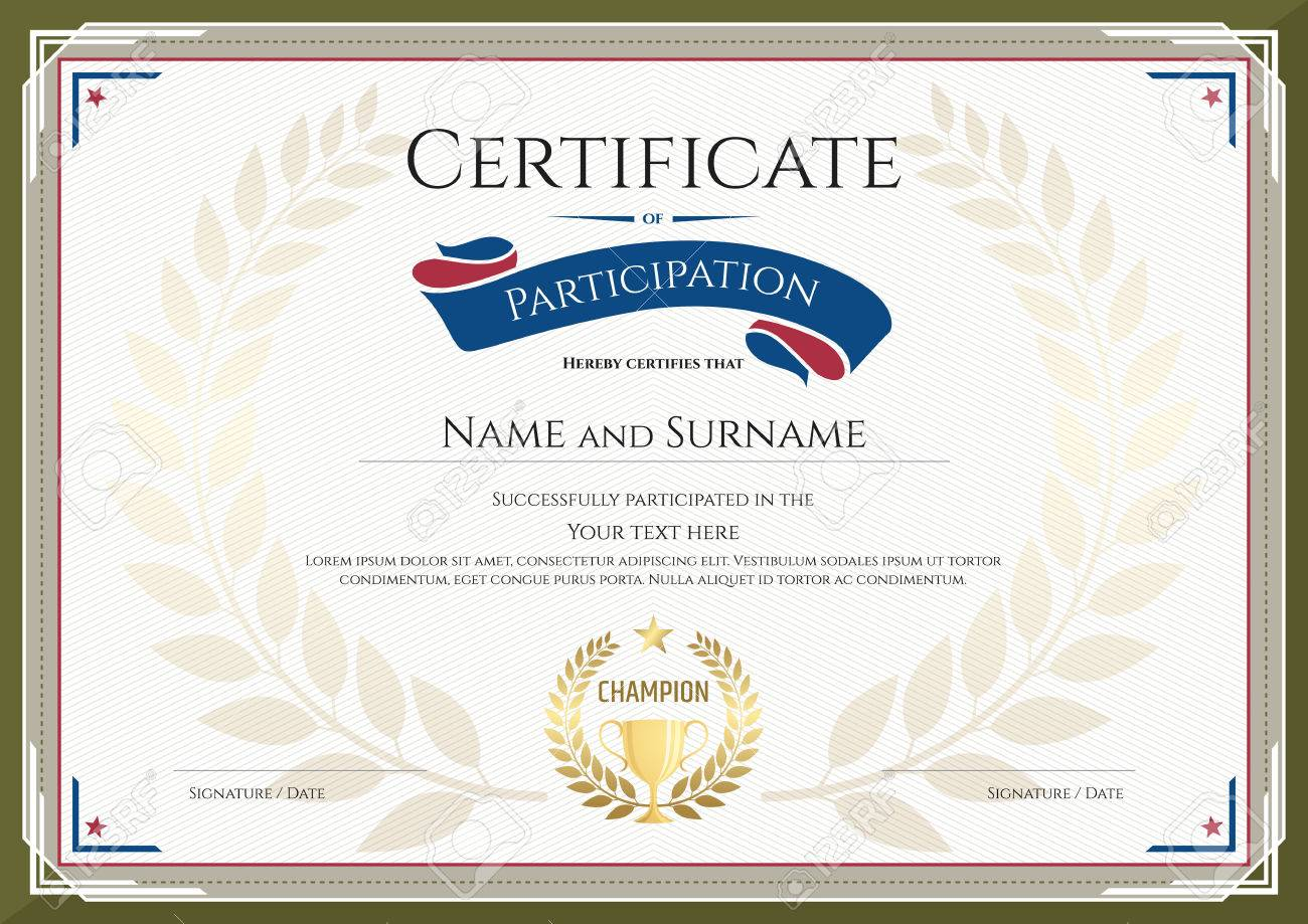 Certificate of participation template with green broder gold certificate of participation template with green broder gold trophy champion wreath and photo space alramifo Image collections