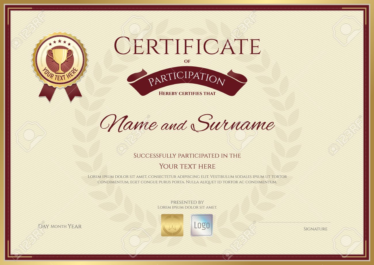 Certificate of participation in sport theme with award wreath in background - 60131227