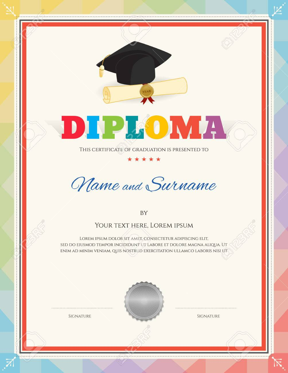 Colorful School Kid Diploma Certificate Template In Modern Style ...