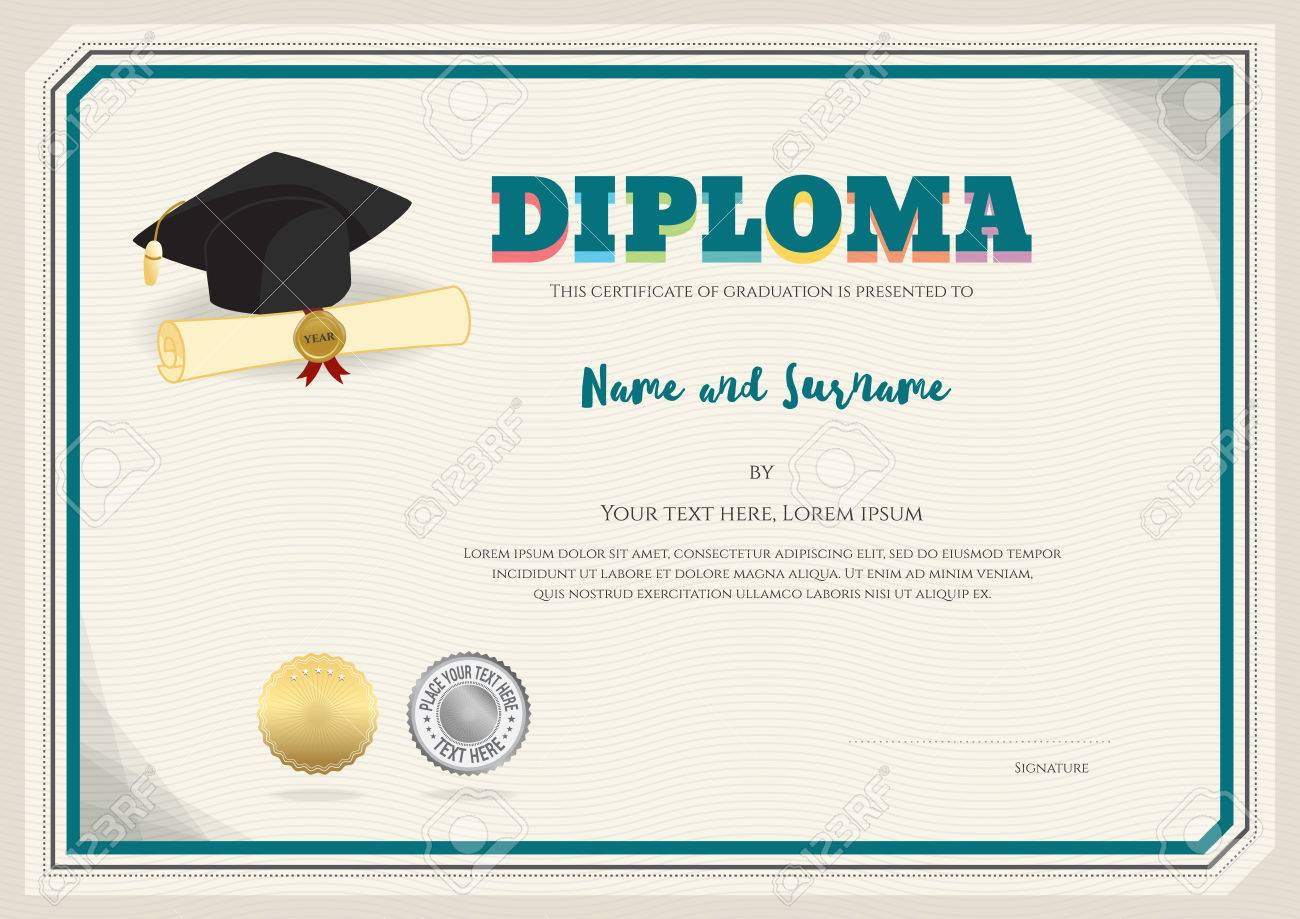 diploma certificate template in vector with graduation cap certificate and seal stock vector 60131294