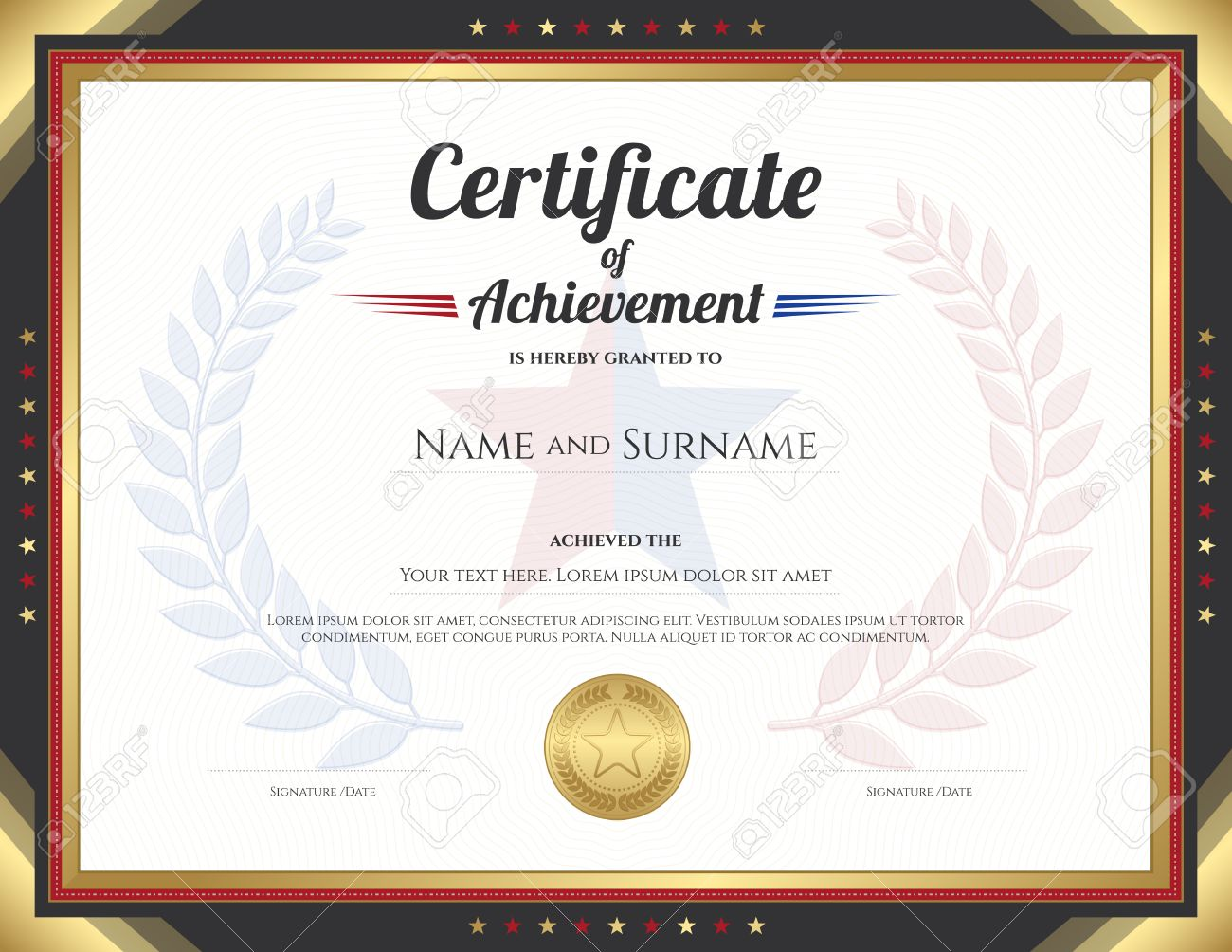 Certificate Of Achievement Template With Gold Border Theme And