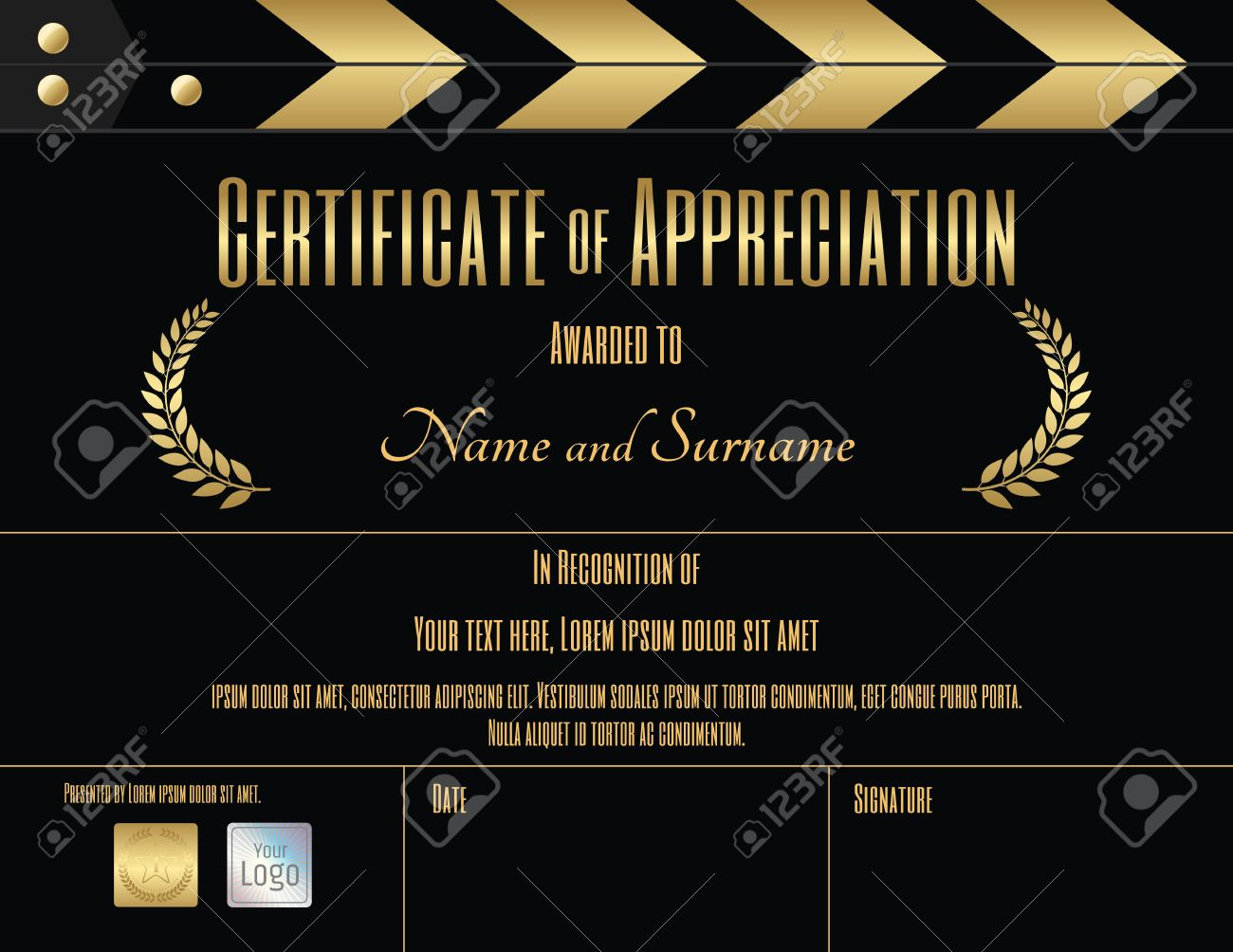 Certificate of appreciation template in black and gold with movie certificate of appreciation template in black and gold with movie and slate film theme stock vector yadclub Image collections